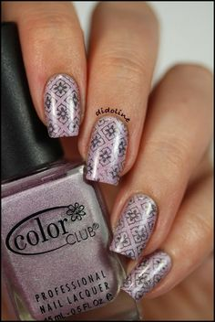Color Club - 'Fashion Addict', a pink-purple holo stamped with Color Club 'Beyond', a black holo and Moyou plate-London Artist Collection 04 ~ by Didoline's Nails