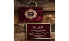 Luxury Red Velvet invitation with bag style envelope. Elegant Red Velvet card style with gold calligraphy. Velvet Wedding Invitations, Wedding Invitation Samples, Engagement Invitations, Unique Invitations, Wood Invitation, Invitation Cards, Invitation Design, Gold Calligraphy, Menu Cards