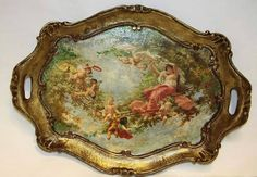 Silver Platters, Silver Trays, Old Plates, Kitchen Countertops, Painted Furniture, Tea Pots, Decoupage, Diy And Crafts, Shabby