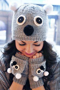 Care to Cuddle? Koala and Owl Animal Hat and Fingerless Mitten Set Knitting pattern by Lauren Riker Crochet Gloves, Knitted Hats, Knit Crochet, Crochet Granny, Animal Hats, Owl Animal, Owl Pet, Fingerless Mittens, Knitting Patterns