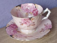Antique 1930's Pink Roses teacup and saucer by ShoponSherman