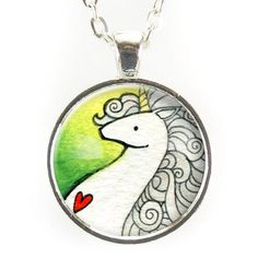 Unicorn Necklace On Green