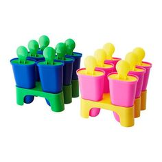 IKEA - CHOSIGT, Ice pop maker, assorted colors, Fill with fruit juice and make your own ice pops. For the mold to easily loosen, rinse with lukewarm water. Popsicle Molds, Popsicle Recipes, Popsicle Sticks, Tupperware, Ice Pop Maker, Fruit Popsicles, Ikea Shopping, Cooking Tools, Kitchen Gadgets