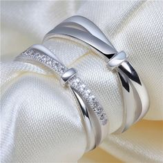 Criss-Cross Shank Diamond Accent Wedding Band Adjustable Rings from Yoyoon.com Gift for Valentine's day