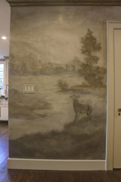 Custom misty ethereal landscape featuring local flora and fauna, dotted with woodland characters. This focal wall connects the kitchen and entry way, the mural extending throughout the space. Focal Wall, Residential Interior Design, Wall Finishes, Mural Painting, Metallic Paint, Ethereal, Art Decor, Woodland, Flora