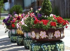 DIY: Recycled Tire Garden Planters