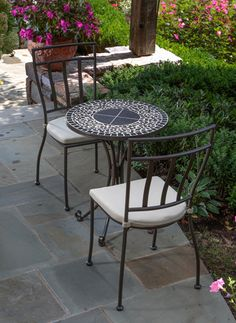 Vulcano Mosaic Bistro Set compliments a wide range of indoor and outdoor settings as each hand-cut and polished tile brings individuality to each set.