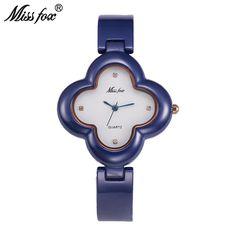 US $268.80 - Miss Fox Teenage Girls Watches 2017 Female Xfcs Blue Clover Ladies Wrist Watches Fashion Quartz Timepiece Women Ceramic Watch