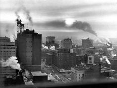 Smoke from dozens of stacks clouds downtown Omaha in this photo that ran in the February 16, 1967, edition of The World-Herald. It was shot Feb. 2 about 8 a.m. from the fifteenth floor of the Northern Natural Gas building, looking southeast. A photo caption at the time indicated that local officials were studying air pollution from industry, dumps and automobiles. THE WORLD-HERALD