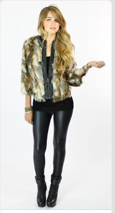 Elena is looking FOXY in our Twelfth Street Faux Fur Chubby + Plush Liquid Leggings Leather Pants Outfit, Leather Leggings, Fashion Outfits, Womens Fashion, Style Me, Hair Beauty, Classy, Casual, Faux Fur