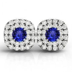 1.56ctw Round Tanzanite Earring With .22ctw Diamonds in 14k White Gold