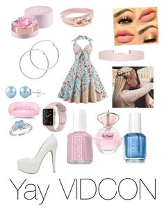"""""""Yay VIDCON"""" by egwmisspiggy on Polyvore featuring Qupid, Lancôme, Melissa Odabash, Salvatore Ferragamo, Humble Chic, Ice and Essie"""