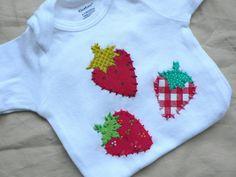 Strawberries Onesie Tee Applique  www.ohmelisa.etsy.com
