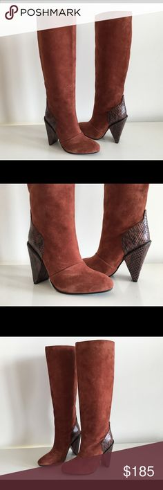 """SEE BY CHLOE BROWN SUEDE LEATHER TALL BOOTS, SZ 36 SEE BY CHLOE BROWN SUEDE LEATHER TALL BOOTS, WITH SNAKESKIN LEATHER AT HEEL, SIZE 36, BLOCK HEEL 4"""", SHAFT 14"""", TOP CIRCUMFERENCE 13"""", CALF CIRCUMFERENCE 12"""", PULL-ON, BRAND NEW WITHOUT BOX See by Chloe Shoes Ankle Boots & Booties"""