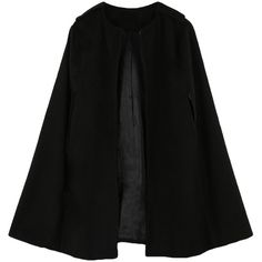 Chic Women Cape Coat Batwing Cloak Loose Poncho Warm Jacket Outerwear... ($18) ❤ liked on Polyvore featuring outerwear, cloak cape, camel poncho, black cloak, capes cloaks and black cape