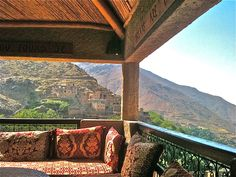 """A rustic luxury in the Moroccan mountains of the Atlas at the Kasbah du Toubkal.    Ancient citadel, the Kasbah is nested in the village of Imlil, at the foot of the Toubkal, the highest summit in North Africa culminating at 4165 meters."""