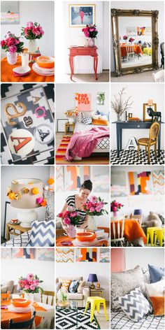 Adore so much of this! 1. huge mirror 2. white walls with citrus pop colors 3. white and black patterns