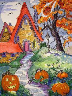 Halloween Painting, Halloween Art, Vintage Halloween, Halloween Stories, Storybook Cottage, Cottage Art, Art Vintage, Halloween Pictures, Autumn Art