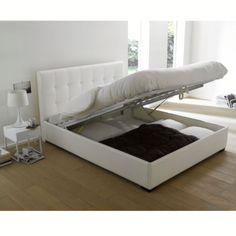 Lit complet, tête de lit capitonnée, sommier, rangement, La redoute