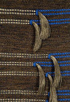Detail, 'Silver-Blue Connection' (1978) by Atlanta-based american fiber artist & weaver Marla Mallett. Wool & nylon, 23 x 60 in. via the artist's site
