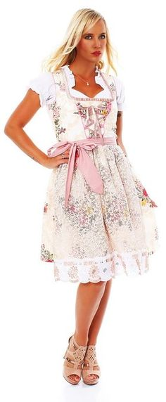 58639e61fd39 10594 Fashion4Young Damen Dirndl 3 tlg.Trachtenkleid Kleid Mini Bluse  Schürze…