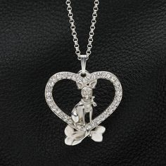 """Sterling Silver and Sapphire Chihuahua Pendant w/ 18"""" sterling chain by Donna Pizarro fr the Animal Whimsey Collection of dog jewelry"""