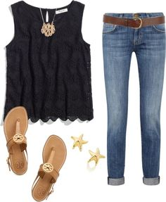 """""""lovelaurenmarie17:  Black Lace by thevirginiaprep featuring sling back sandals ❤ liked on Polyvore Madewell lace camisole tank / Current/Elliott current elliott skinny jeans, $135 / Tory Burch sling back sandals / Elsa Peretti gold jewelry / BaubleBar  jewelry / Warehouse jean belt, $31"""""""