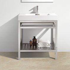 "Kube Bath Cisco 30"" Modern Stainless Steel Vanity Base"