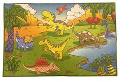 Animal Print Dinosaurs Green Area Rug