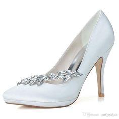 0255-19 Fashion Elegant Crystal Wedding Shoes Custom Made Size 10.3CM Heel  White Stain 14db8bfbbd6f