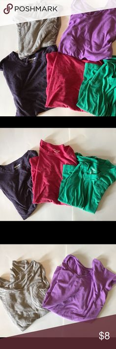 5 Assorted T shirt Bundle (Old Navy & Target) Assorted bundle of t shirts from old navy and target. Dark purple and hot pink crack neck tees from old navy, green and tan are v necks from target, and light purple v neck is the champion line from target. All t shirts are size L. Old Navy Tops Tees - Short Sleeve
