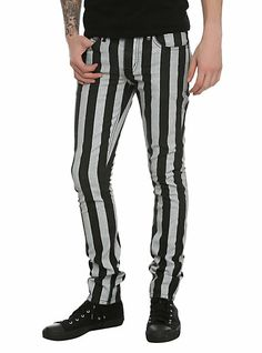 RUDE Black And White Stripe Skinny Jeans | Hot Topic