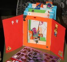 Fare i libri coi bambini – i libri tunnel  Fare i libri coi bambini – i libri tunnel: questo è lo schema base per costruirli:  Materiale occorrente – cartone più spesso per le cornici e il fondo (io…