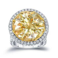Auriya 18k Two-tone Gold 22 1/2ct TDW Natural Yellow Round-cut Diamond Halo Ring (E-F, VVS1-VVS2) | Overstock.com Shopping - The Best Deals on Diamond Rings
