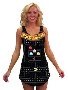 Pac-man video game screen tank dress from Angels Fancy Dress 1980s Fancy Dress, Fancy Dress Womens, Fancy Dress Outfits, Angel Fancy Dress, Fairy Fancy Dress, 80s Costume, Costume Dress, Halloween Costumes, Pac Man