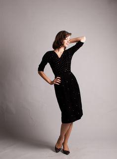 Vintage 1950s Dress  Velvet 50s Dress  Lets by concettascloset, $148.00