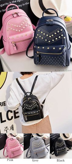 cbb73dd36e Punk Rivet Small Backpack School Bag PU Women Shopping Backpack for big  sale!  punk