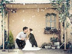 Korea pre wedding photo with snow as winter white concept