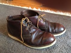 """pceig: """"Redwing 3134 Briar Oil Slick Leather. 7 years and one resole. Solid! """" Red Wing Boots, Red Wing Chukka Boots, Wing Shoes, Men's Shoes, Mens Attire, Footwear, Mens Fashion, My Style, Leather"""