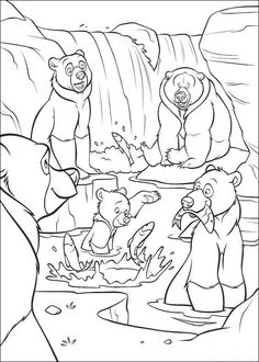 kleurplaat Brother Bear - Beren vangen vis
