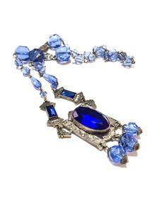 Art Deco Crystal Necklace Pendant Necklace by GracesVintageGarden