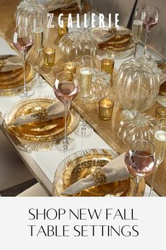 Go for the gold with place settings, glassware, centerpieces & more.Use the table setting idea to get in the mood for Fall (Autumn). Great idea for the upcoming Thanksgiving holidays, too. Fall Table Settings, Christmas Table Settings, Christmas Table Decorations, Place Settings, Holiday Decor, Winter Decorations, Christmas Tables, Tree Decorations, Stylish Home Decor