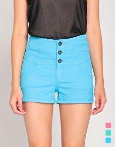 High Waisted Three Button Shorts