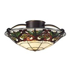 Z-Lite Hudson 17.5-in W Chestnut Bronze Tea-Stained Glass Tiffany-Style Semi-Flush Mount Light