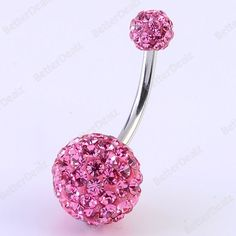 1PC 14G Pink Czech CZ Crystal Belly Navel Ring Stud Barbell Stainless Steel