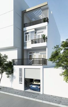 29 Best Modern Dream House Exterior Designs You Will Amazed - 3 Storey House Design, Bungalow House Design, House Front Design, Small House Design, Modern House Design, Small House Exteriors, Dream House Exterior, Dream House Plans, Narrow House Designs