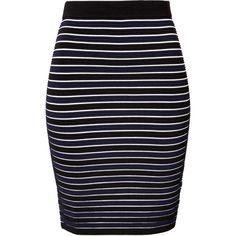 JONATHAN SIMKHAI Striped Ribbed Pencil Skirt ($305) found on Polyvore