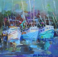 PALETTE KNIFE PAINTING OF SHRIMP BOATS, painting by artist Elizabeth Blaylock