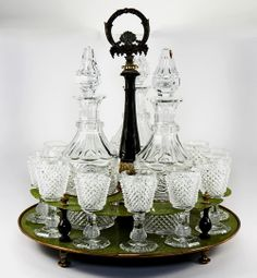 RARE Antique 1830 French Baccarat Crystal Liqueur Cabaret, 3 Decanters, 12 Cordial Goblets, Charles X - Revolution of 1830