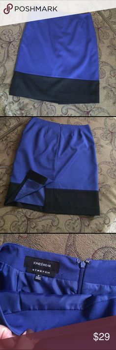 """Blue and black pencil skirt Pencil skirt.  Royal blue with black. Zip up back with hook/eye closure.  Fully lined. Waist measures 15"""". Wisest part of hips measures 18"""". Length is 21"""". Excellent condition.  Only dry cleaned and looks brand new.  Poly/rayon with 4% spandex for comfort stretch Jones New York Skirts Pencil"""